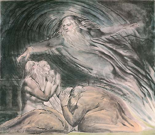 """contemplating gods creation in william blakes the William blake, """"the overthrow of apollo and the pagan gods"""" (thomas set), 1809 watercolor on paper, 193 x 25 cm whitworth art gallery, manchester, england description: pagan worshipers burn an offering to apollo as his spirit flees its statue in fear."""