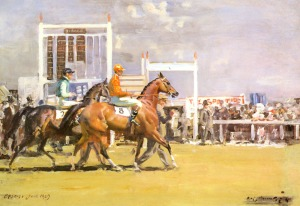 Going Out at Epsom, Sir Alfred James Munnings (1878-1959) -- My dad bought the print in England, while serving in the Army Air Corps during WWII.