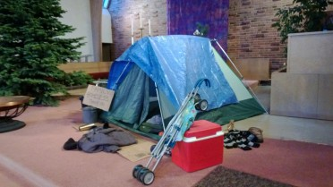 A homeless nativity at Alki United Church of Christ.