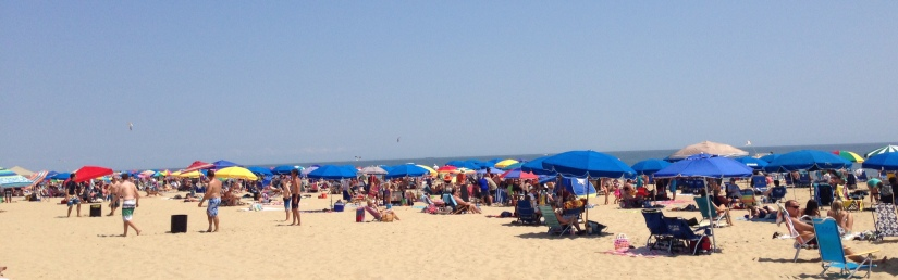 The vista at Rehoboth Beach on a beautiful summer day.