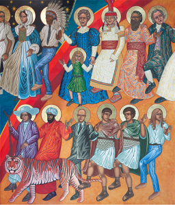 Some of the Dancing Saints at St. Gregory of Nyssa, San Francisco; by iconographer Mark Dukes.