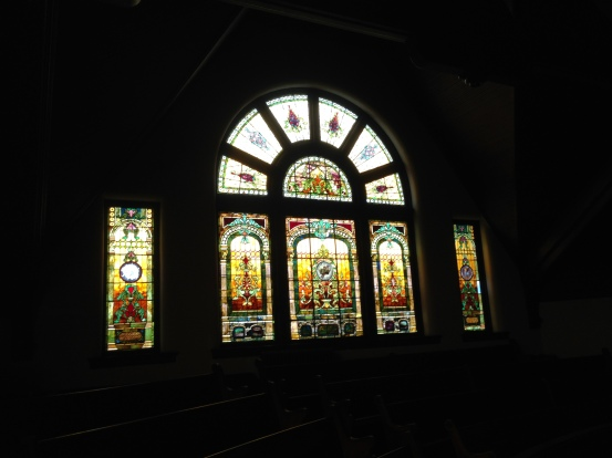 Stained glass windows in the balcony at my childhood church.