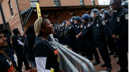 A photo from the Freddie Gray protests in Baltimore