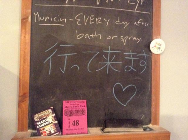On our kitchen blackboard,