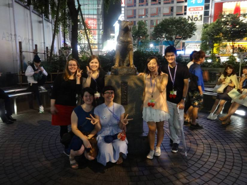 LP, left, with other 5 College students on the Kakehashi Program trip, July 2014.