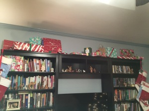 Our presents atop the bookshelves, safe from the puppy.