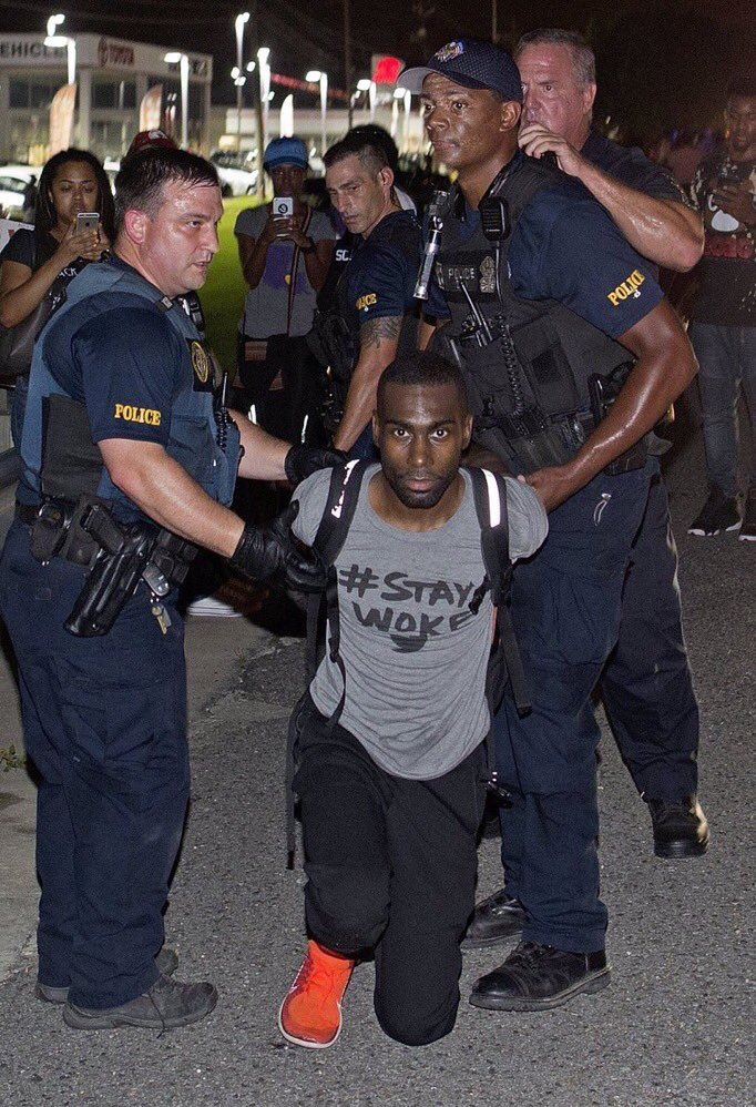 Activist Deray McKesson arrested in Baton Rouge last night. https://twitter.com/AprilDeming/status/752026636766179330