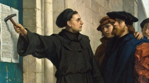 Luther and his 95 Theses, by Ferdinand Pauwels (found at Wikimedia, Public Domain)